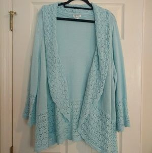 Seafoam Blue Cardigan by Croft & Barrow Size 3X